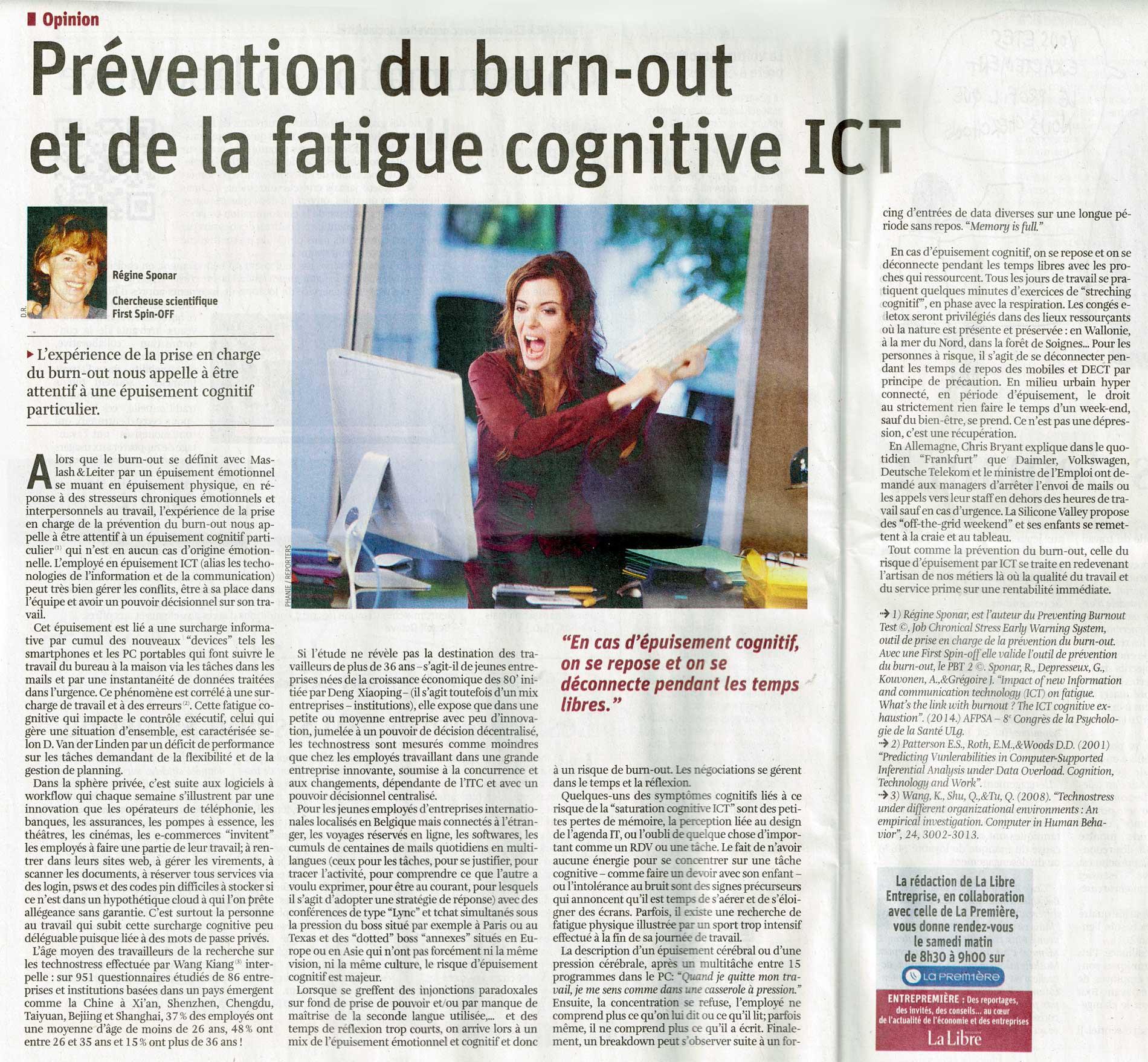 La Libre - Régine Sponar mesure la surcharge cognitive ICT