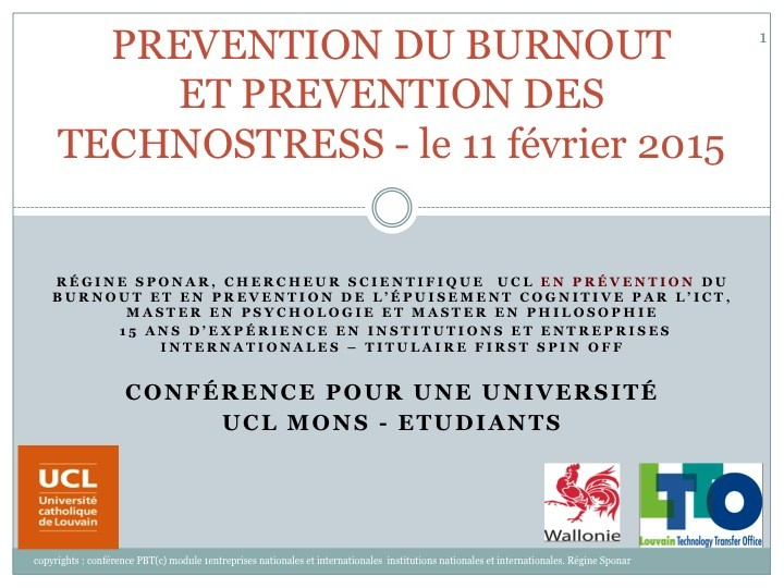 Prevention du burnout et des technostress